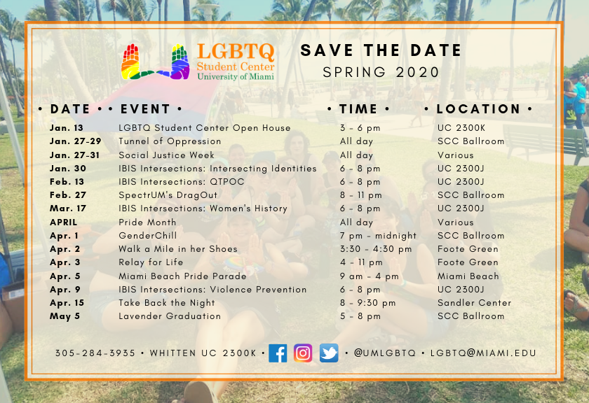 Image containing dates and names of programs occurring in the Spring 2020 semester.